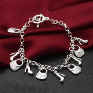 Fashion Design Vintage Handbag Shoe Bracelet Personality Silver-plated Charm Jewelry -