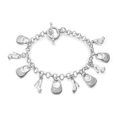 Hot Fashion Design Vintage Handbag Shoe Bracelet Personality Silver-plated Charm Jewelry