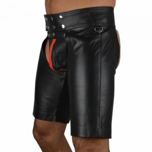 Men's Patchwork Faux Leather Hollow Out Sexy Shorts -