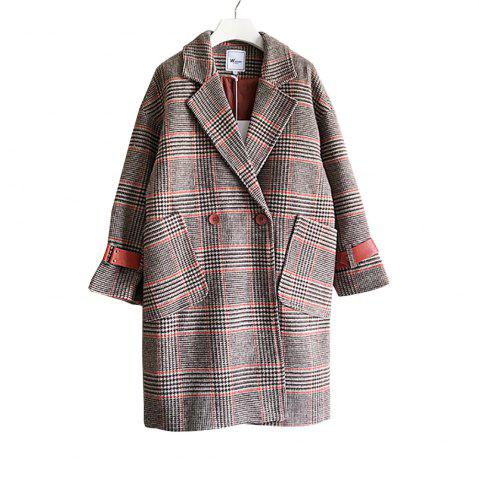 Cheap New Winter  Vintage Leather Buckle  Woolen Overcoat