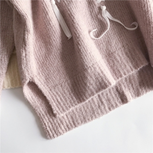 New Winter  Sweet Lady Silk Bandwidth Thin and Thick Base Wool Knit Sweater -