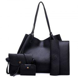FashionLitchi grain Lady'S Mother Bag Four Pieces of Single Shoulder Cross-Bag -