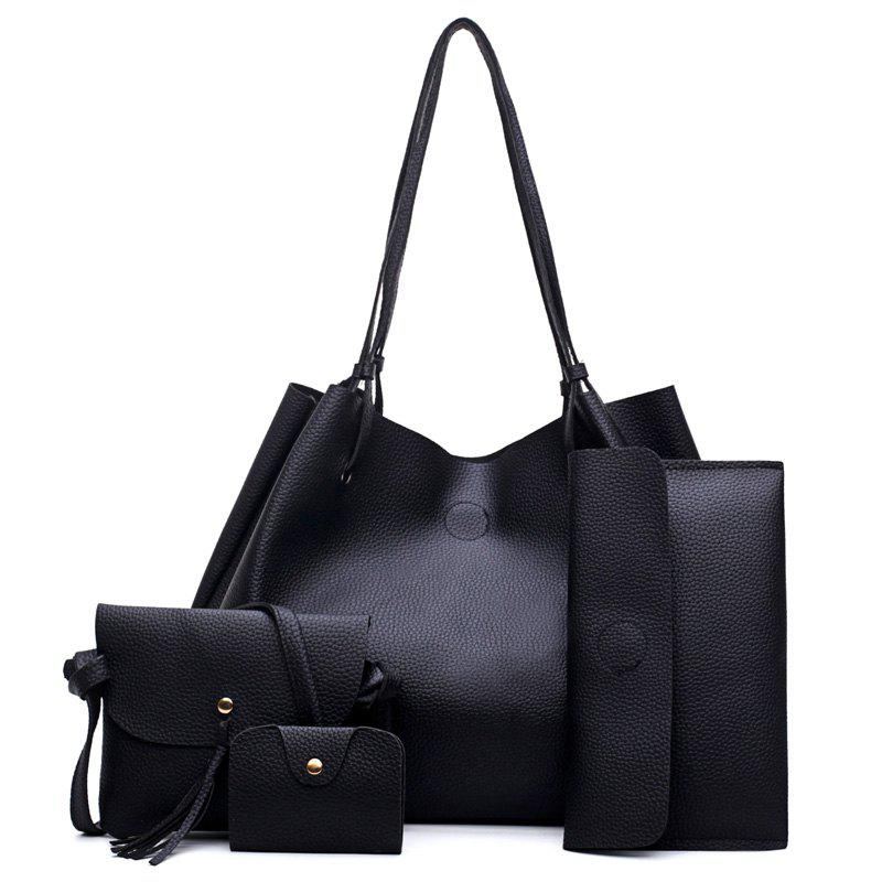 Hot FashionLitchi grain Lady'S Mother Bag Four Pieces of Single Shoulder Cross-Bag