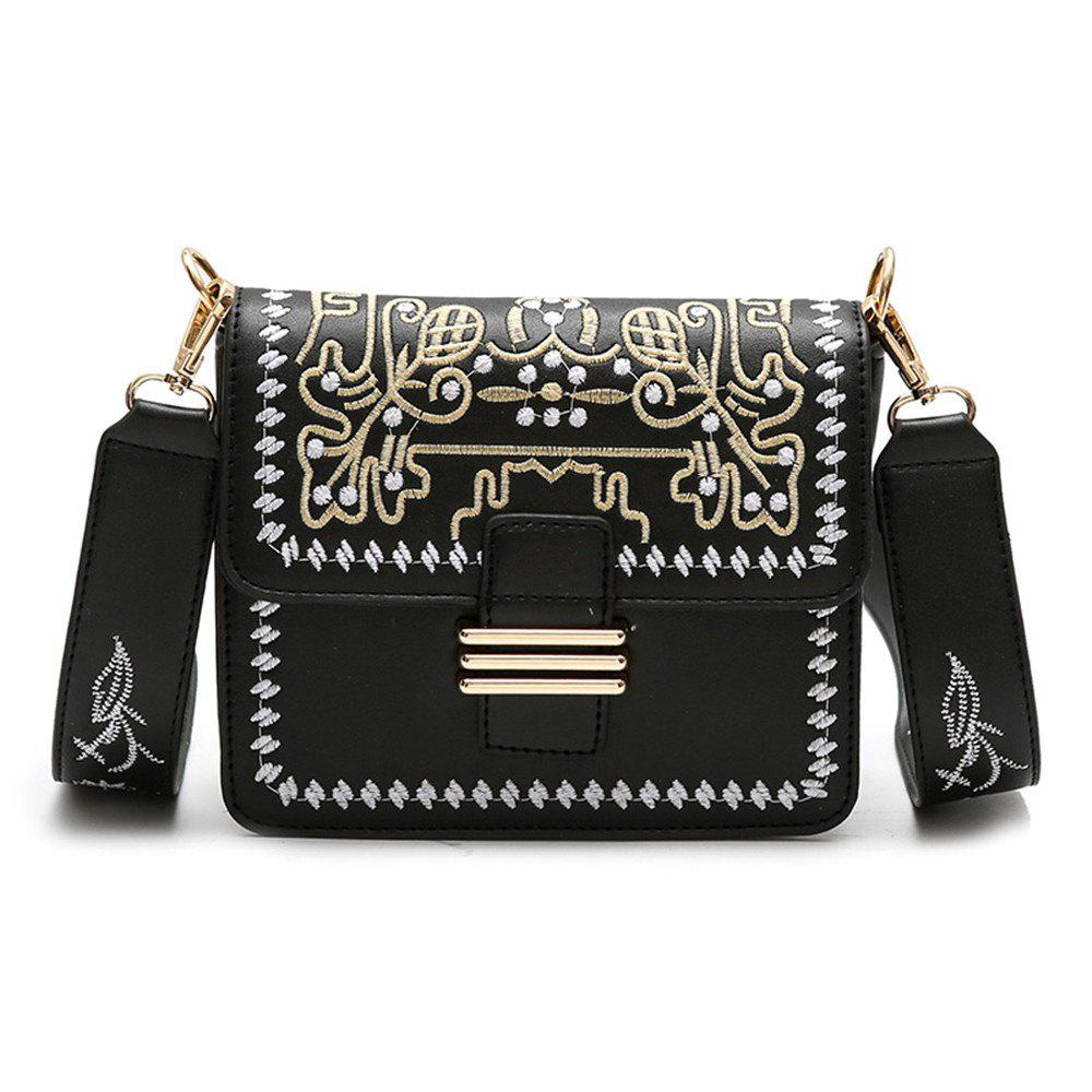 Hot Female Embroidery Wide Strap Messenger Small Square Package