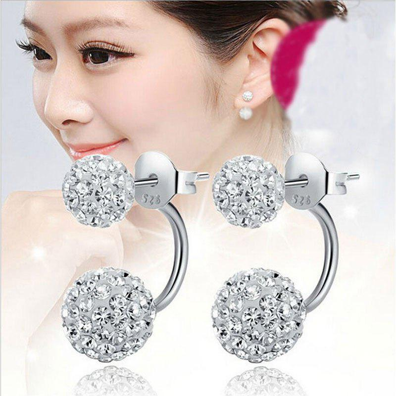 925 Sterling Silver Double Beads Crystal Stud Earring Women Jewelry 247173301
