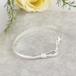 European Fashion Jewelry Solid Silver Dolphin Clasp Bangle Bracelet -