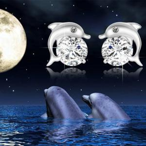 Lovely Crystal Eye Dolphin Stud Earrings -