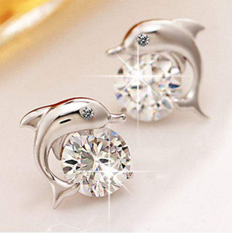 Online Lovely Crystal Eye Dolphin Stud Earrings