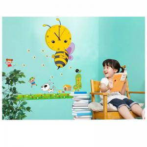 Creative 3D Little Bee Clock Stitching Lovely Cartoon Wall Stickers -