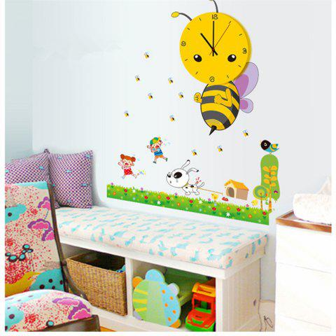 Affordable Creative 3D Little Bee Clock Stitching Lovely Cartoon Wall Stickers