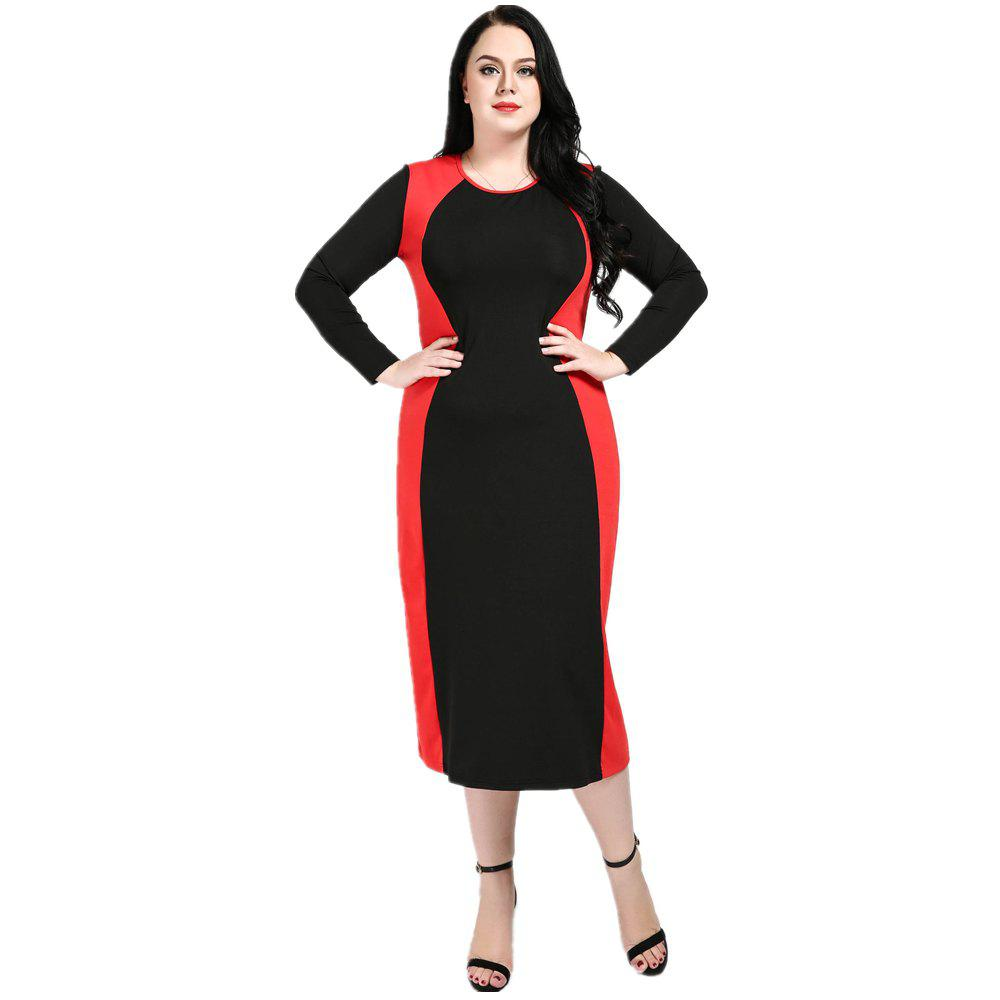 45355472f1 Cheap Cute Ann Women s Sexy Long Sleeve Black And Red Blocked Plus Size  Party Dress