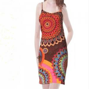 European and American Printed Sling Dress -