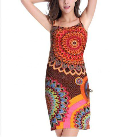 New European and American Printed Sling Dress