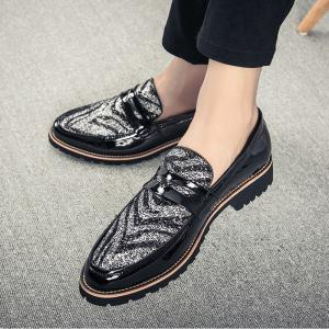 Men Fashion Mixed Color Leather Shoes -