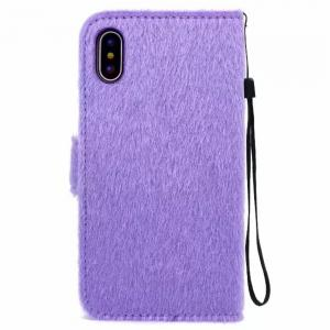 Case For iPhone X Horse Hair Card Holder Wallet with Stand Flip Full Body Solid Color Flower Hard Genuine Leather -