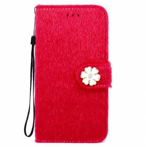 Fancy Case For iPhone X Horse Hair Card Holder Wallet with Stand Flip Full Body Solid Color Flower Hard Genuine Leather