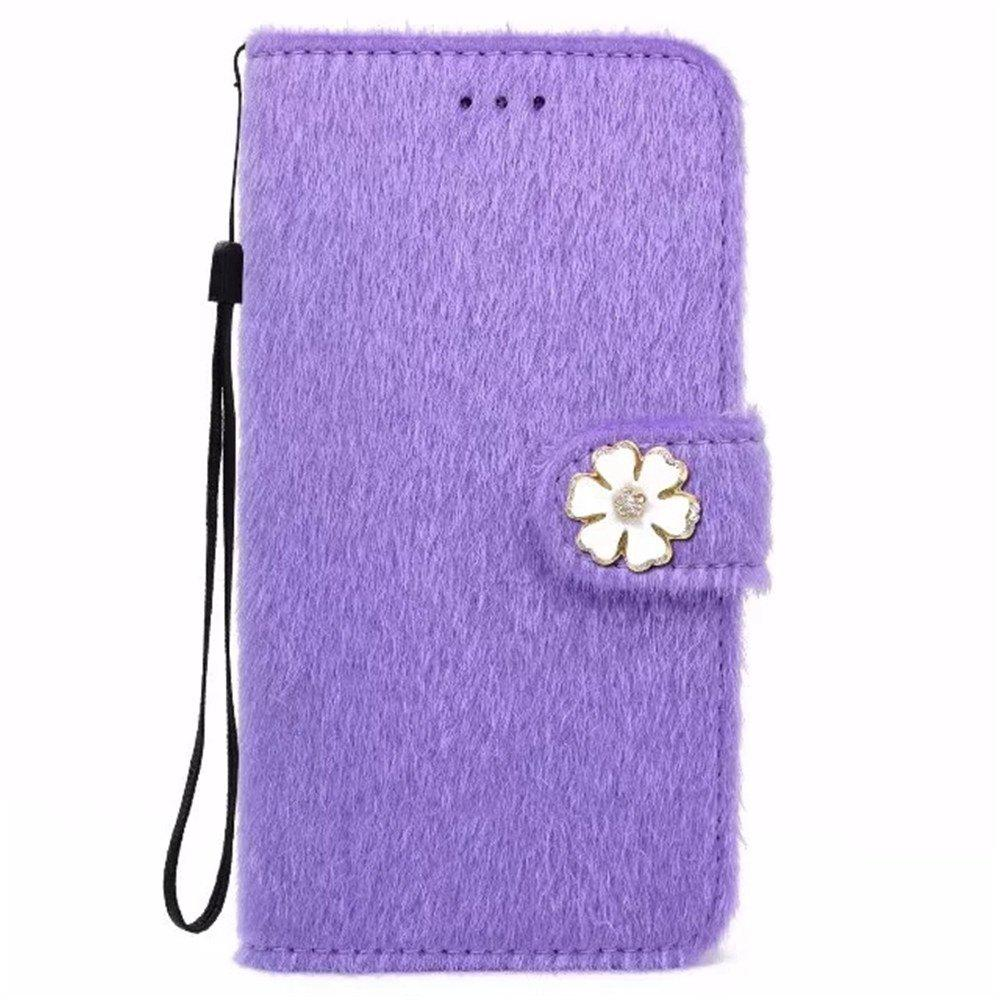 Unique Case For iPhone X Horse Hair Card Holder Wallet with Stand Flip Full Body Solid Color Flower Hard Genuine Leather