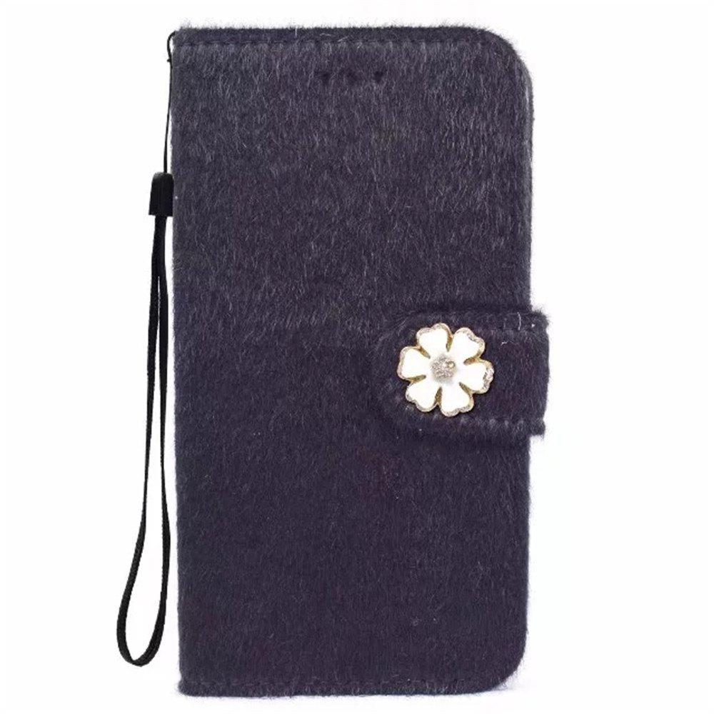 Latest Case For iPhone X Horse Hair Card Holder Wallet with Stand Flip Full Body Solid Color Flower Hard Genuine Leather