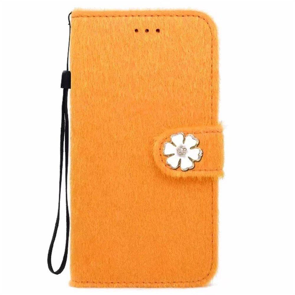 Trendy Case For iPhone X Horse Hair Card Holder Wallet with Stand Flip Full Body Solid Color Flower Hard Genuine Leather