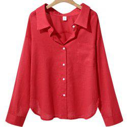 Loose Long Sleeved V Collar Women'S Solid Color Shirt -