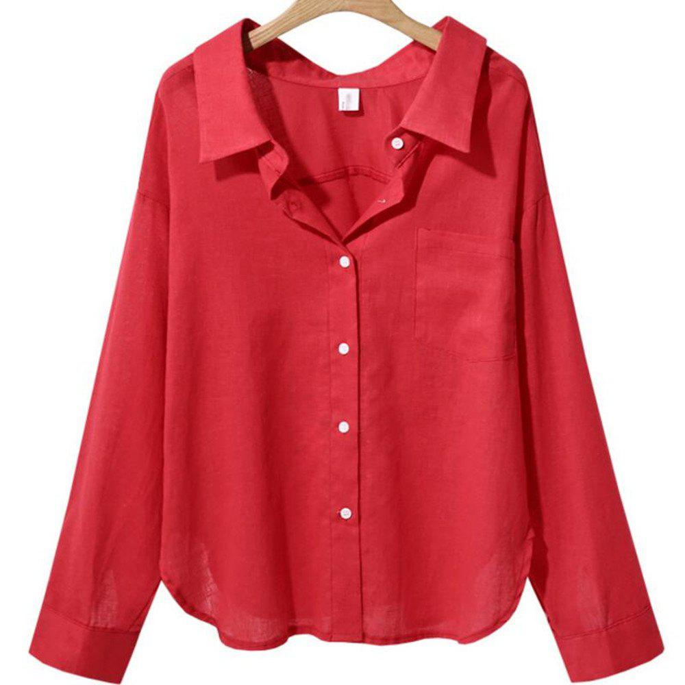 Discount Loose Long Sleeved V Collar Women'S Solid Color Shirt