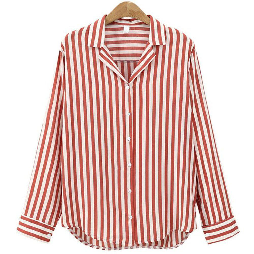 Discount 2018 New Spring All-Match Striped Long Sleeved Shirt