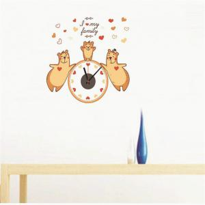 creative DIY Cute Bear Splice Wall Stick Clock -