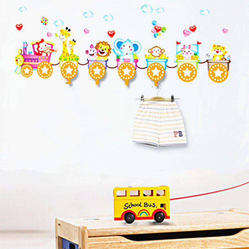 2018 fashion creative animal train wall stickers splicing 4 pcs
