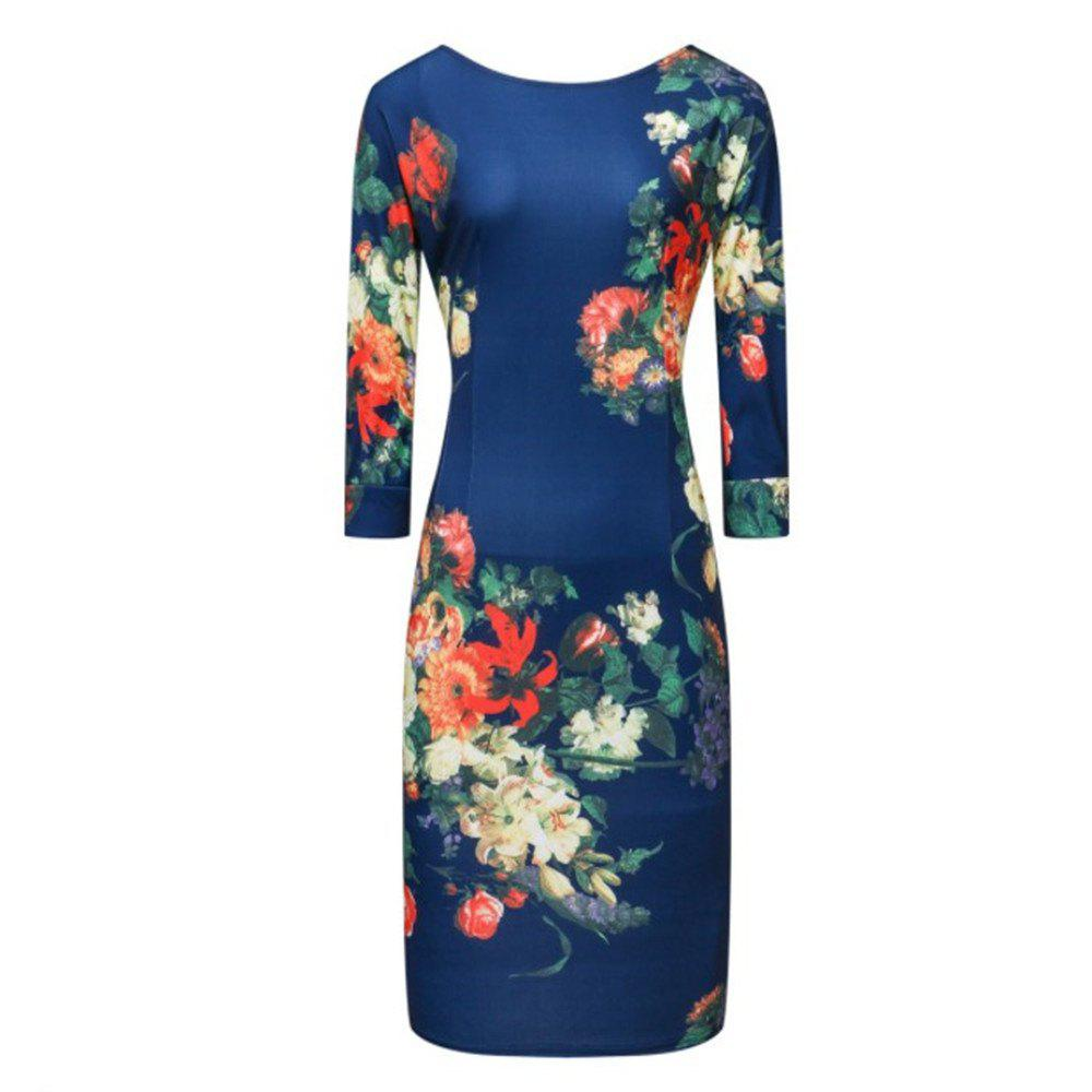 Outfit European and American Round Collar Print Dress