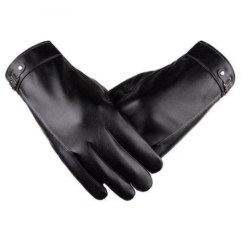 Fashion Touch Screen Men's Winter Leather Gloves Warm Cashmere and Thick Fashion Outdoor Cotton