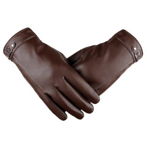 Trendy Touch Screen Men's Winter Leather Gloves Warm Cashmere and Thick Fashion Outdoor Cotton