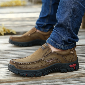 Men Casual Trend for Fashion Outdoor Hiking Flat Loafers Leather Shoes -