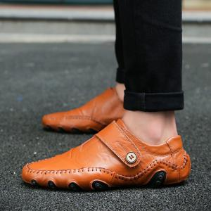 Men Casual Trend for Fashion Outdoor Hiking Flat Slip on Loafers Leather Shoes -