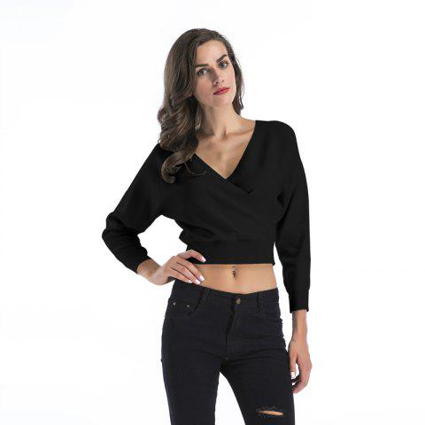 Sale Lady V Collar Bats Crop Top
