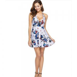 Summer Sexy Deep Neck Halter Halter Print Floral Dress -