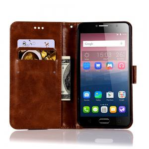 Retro Flip Leather Case PU Wallet Cover Cases For Alcatel Pop 4 Plus Case Fierce 4 5056 / 5056D 5.5 Phone Bag with Stand -