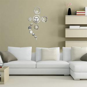 DIY Home Decor Mirror Effect Mural Decal Wall Clock -