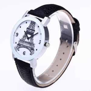 New Trendy Fashion Silver Dial Lychee Tower Quartz Watch with Gift Box -