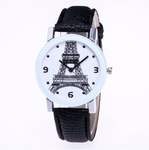 Shops New Trendy Fashion Silver Dial Lychee Tower Quartz Watch with Gift Box