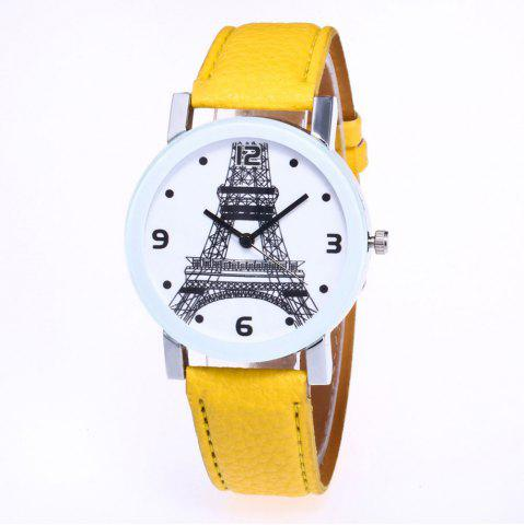 Hot New Trendy Fashion Silver Dial Lychee Tower Quartz Watch with Gift Box