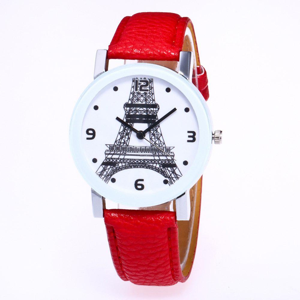 Shop New Trendy Fashion Silver Dial Lychee Tower Quartz Watch with Gift Box