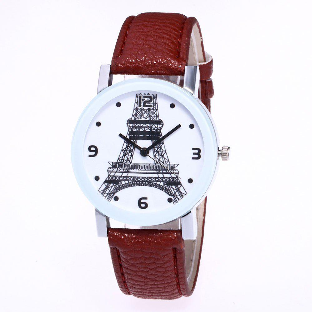 Unique New Trendy Fashion Silver Dial Lychee Tower Quartz Watch with Gift Box