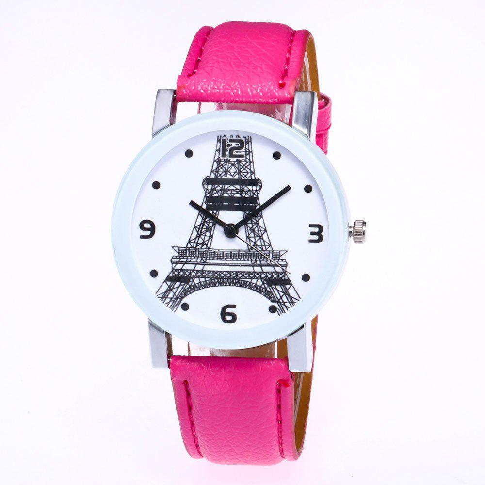 Store New Trendy Fashion Silver Dial Lychee Tower Quartz Watch with Gift Box