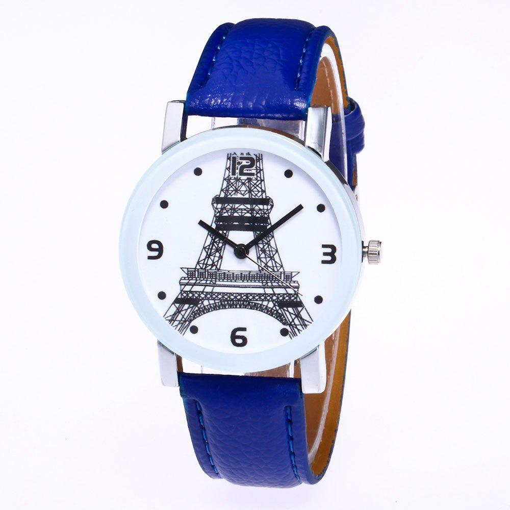 Outfits New Trendy Fashion Silver Dial Lychee Tower Quartz Watch with Gift Box