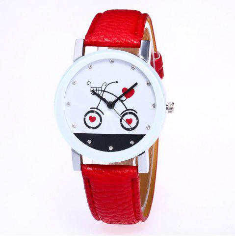 New New Fashion Lychee Pattern Strap Lady Love Quartz Watch with Gift Box