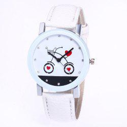 New Fashion Lychee Pattern Strap Lady Love Quartz Watch with Gift Box -