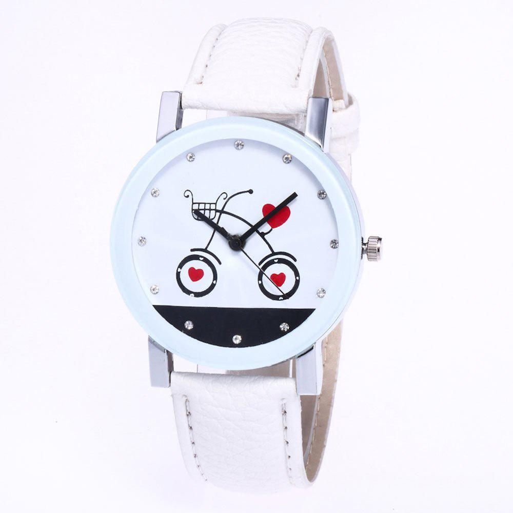 Online New Fashion Lychee Pattern Strap Lady Love Quartz Watch with Gift Box