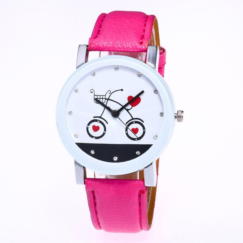 Unique New Fashion Lychee Pattern Strap Lady Love Quartz Watch with Gift Box