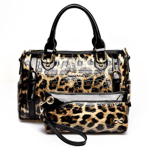 Trendy Leopard Two-Piece Fashion European and American Shoulder Messenger Handbag