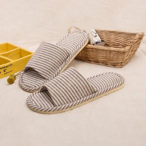 Warrior Home Slipper Open Toe Anti-Slip Stripe Pattern Простой стиль Lover Style Linen Home Slipper -